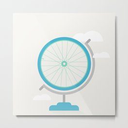 Bike Globe Metal Print