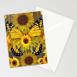 SUNFLOWER BOTANICALS YELLOW MONARCH BUTTERFLY Stationery Cards