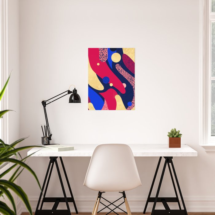 Psychedelic terrazzo galaxy blue night gold red Poster