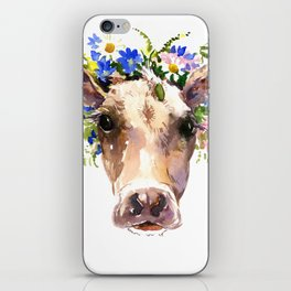 Cow Head, Floral Farm Animal Artwork farm house design, cattle iPhone Skin