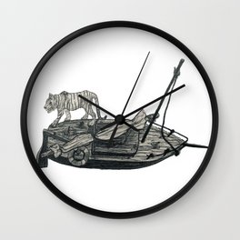 Tiger Boat Lost at Sea Wall Clock