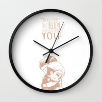 in the flesh Wall Clocks featuring In the Flesh - Siren by SandraG.N.