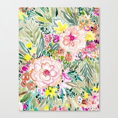 WOWSER Colorful Watercolor Floral Canvas Print