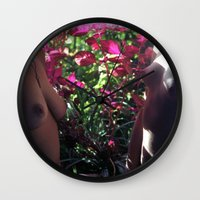boobs Wall Clocks featuring Pretty Floral Boobs by Slow Toast