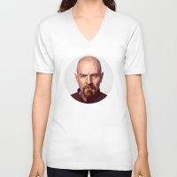 walter white V-neck T-shirts featuring WALTER WHITE by nachodraws