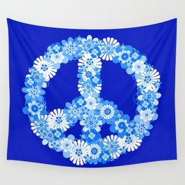 Peace Sign Floral Blue Wall Tapestry