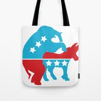 politics Tote Bags featuring Politics by Mike Stark