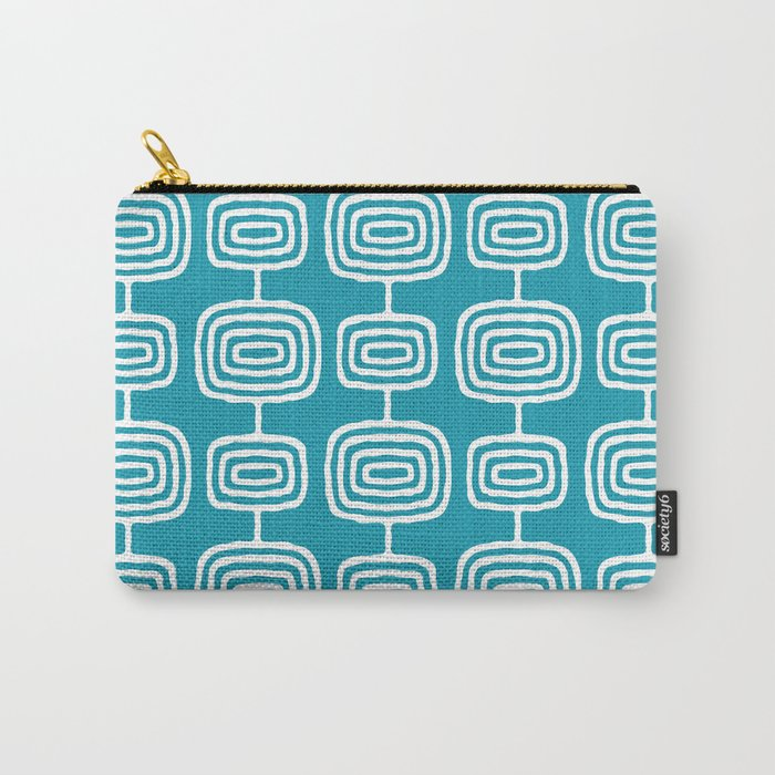 Mid Century Modern Atomic Rings Pattern Turquoise Carry-All Pouch