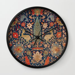 17th Century Persian Rug Print with Animals Wall Clock