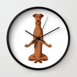 Meditating Irish Terrier Dog Wall Clock
