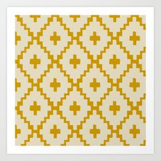 Navajo Diamonds Ivory on Gold Art Print