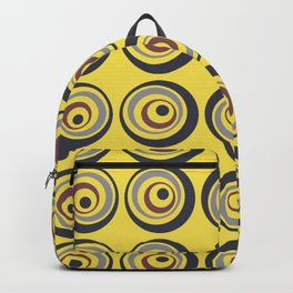 Yellow Grey Blue Red Circle Dot Pattern Pantone 2021 Color of the Year Illuminating Ultimate Gray Backpack