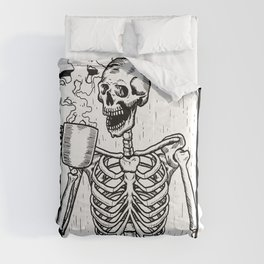 Skeleton Drinking a Cup of Coffee Comforters