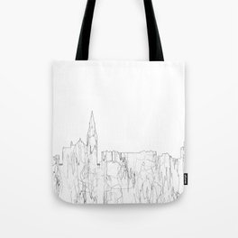 Galway, Ireland Skyline B&W - Thin Line Tote Bag
