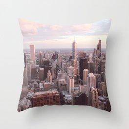 Downtown Chicago Skyline, Fine Art Photography Throw Pillow