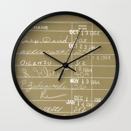 Library Card 23322 Negative Brown Wall Clock