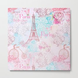 I love Paris - Vintage  Shabby Chic in pink - Eiffeltower France Flowers Floral Metal Print