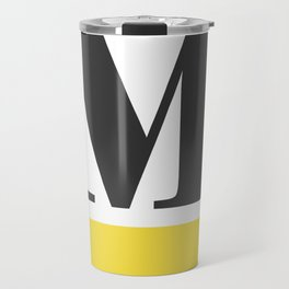 Monogram Letter M-Pantone-Buttercup Travel Mug