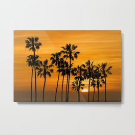 Palm Trees at Sunset by Cabrillo Beach Los Angeles California Metal Print