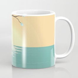 Delicate Asian Inspired Image of Pastel Sky and Lake with Silver Leaves on Branch Coffee Mug
