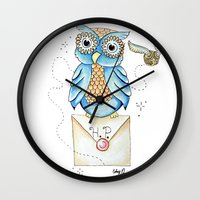 hedwig Wall Clocks featuring Harry Potter - Hedwig Owl and Golden Snitch by Cortney Palmer Art