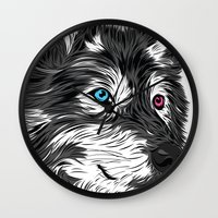 gray Wall Clocks featuring Gray wolf by Roland Banrevi