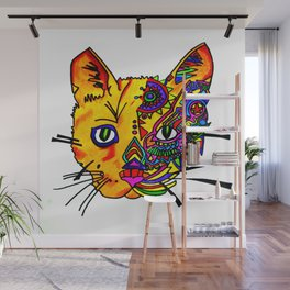 cat face in color Wall Mural