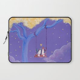 Penguin Lovers Watching the World from Their Tree Swing Laptop Sleeve