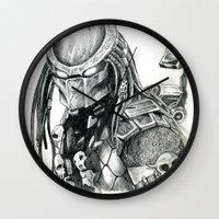 predator Wall Clocks featuring Predator. by Gary Barling