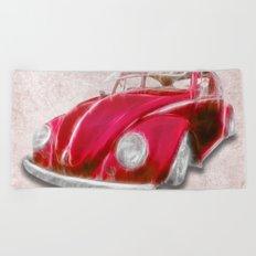 VW Beetle Red Beach Towel