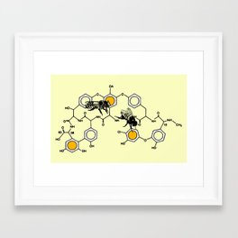Bees making honey on macromolecular structure as a bee house  Framed Art Print