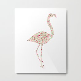 Flamingo Floral Watercolor Metal Print