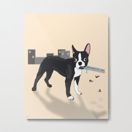 Attack of the Colossal Boston Terrier!!! Metal Print