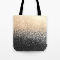 black and gold Tote Bags featuring GOLD BLACK by Monika Strigel