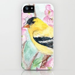 Goldfinch and Dogwood Flowers iPhone Case