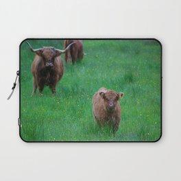 Highland Calf Under Mothers Watchful Eye Laptop Sleeve