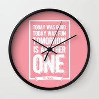 dr seuss Wall Clocks featuring Dr Seuss quote - Today was good Today  by Dickens ink.