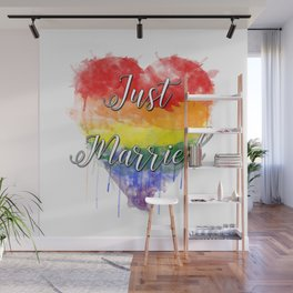 Just Married Gay Pride Wall Mural