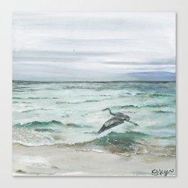 Anna Maria Island Florida Seascape with Heron Canvas Print
