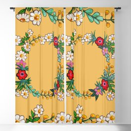 Hand Painted Flower Wreath - Let That Shit Go Blackout Curtain