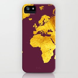 Dark purple and Gold Map of The World - World Map for your walls iPhone Case