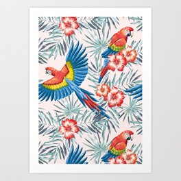 Macaw parrots in the jungle Art Print
