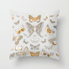 Vintage Butterfly and Moth Illustration Remix Throw Pillow