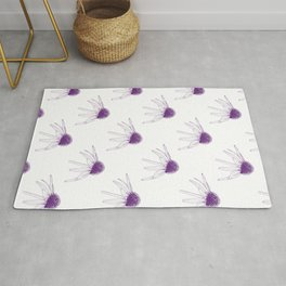 Colourless Intricate Floral Design With Echinacea Flowers Rug