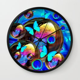 SURREAL NEON BLUE BUTTERFLIES IRIDESCENT SOAP BUBBLES PEACOCK EYES Wall Clock