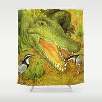 crocodile Shower Curtains featuring Crocodile by Natalie Berman