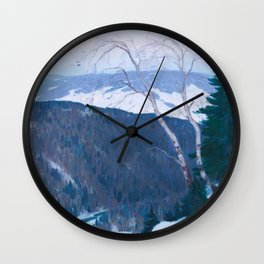 Clarence Gagnon - Winter Solitude - Canada, Canadian Oil Painting - Group of Seven Wall Clock