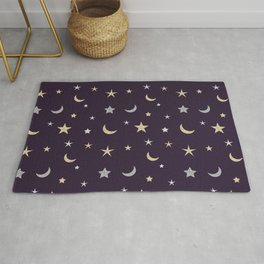 Gold and silver moon and star pattern on purple background Rug