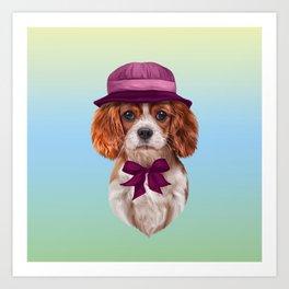 Drawing dog breed Cavalier King Charles Spaniel Art Print