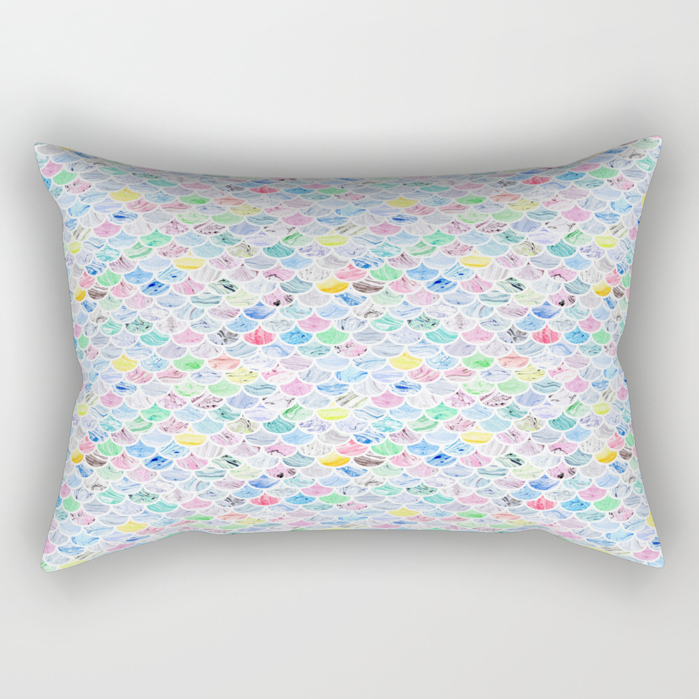 Multi-colored Marble Mermaid Scales Rectangular Pillow RPW8963746
